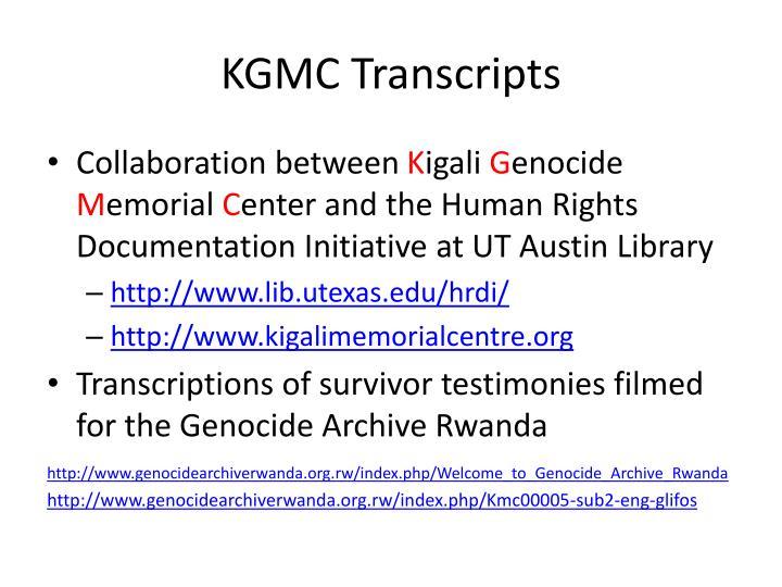 KGMC Transcripts