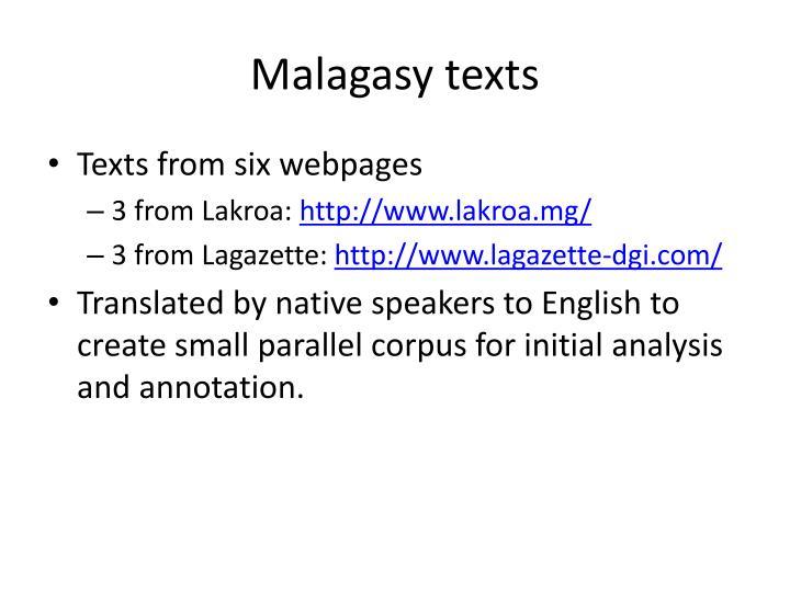 Malagasy texts