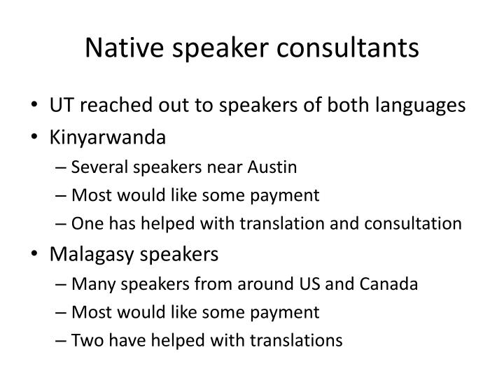Native speaker consultants