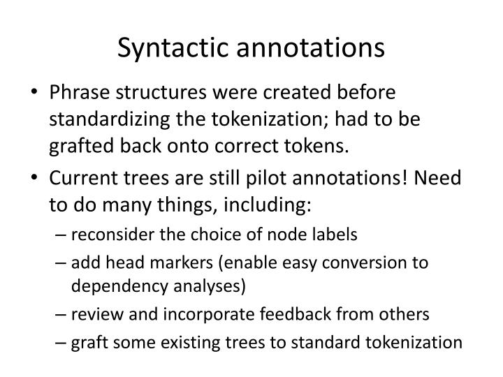 Syntactic annotations