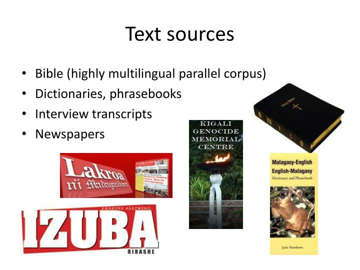 Text sources