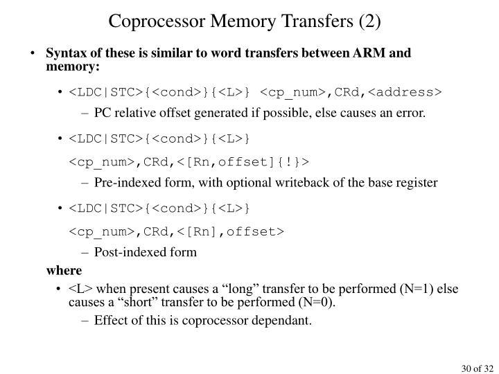Coprocessor Memory Transfers (2)