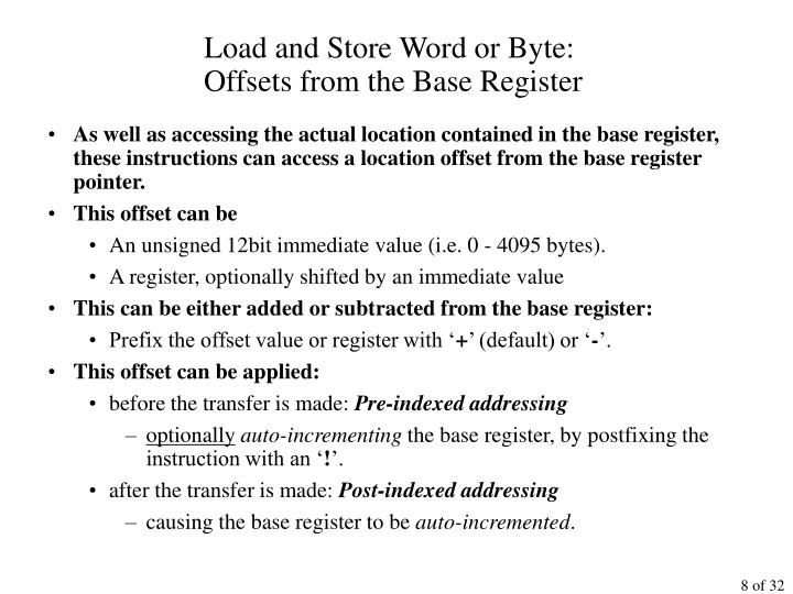 Load and Store Word or Byte:
