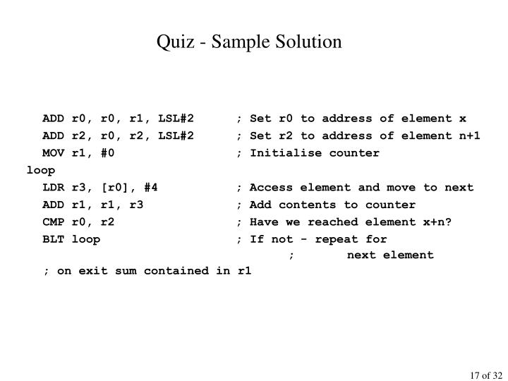 Quiz - Sample Solution