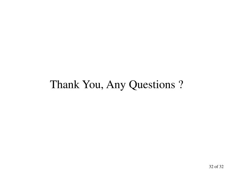 Thank You, Any Questions ?