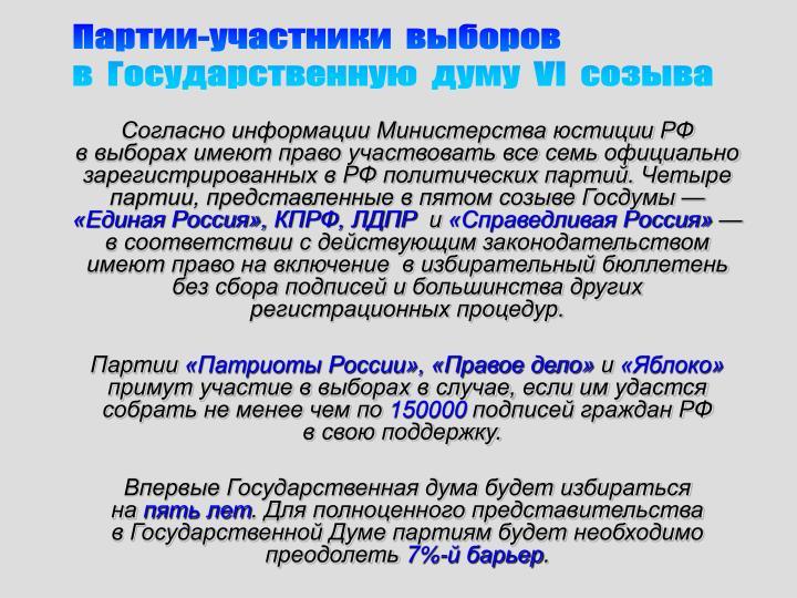 Партии-участники  выборов