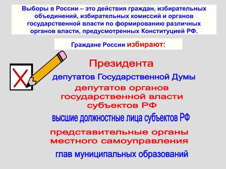 Выборы в России – это действия граждан, избирательных объединений, избирательных комиссий и органов государственной власти по формированию различных органов власти, предусмотренных Конституцией РФ.
