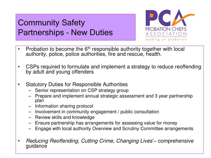 Community Safety Partnerships – New Duties