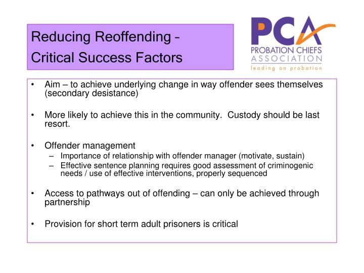 Reducing Reoffending –