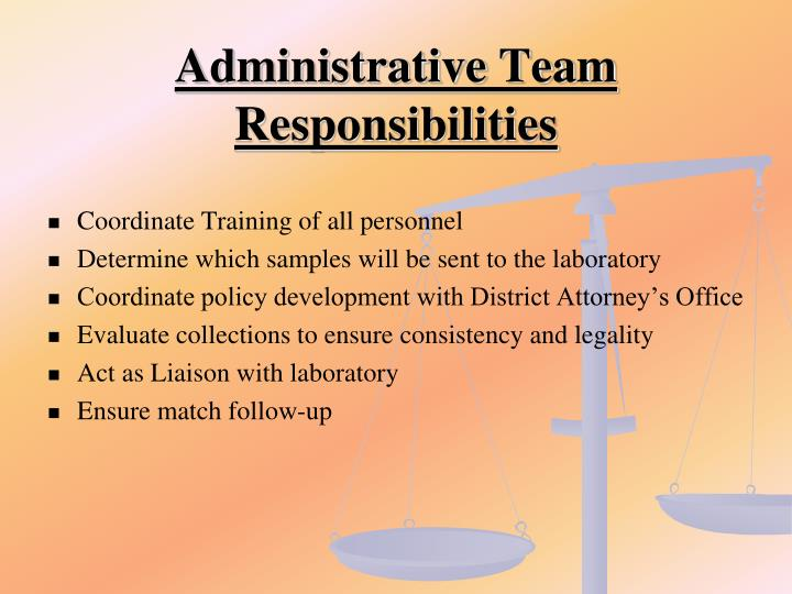 Administrative Team Responsibilities