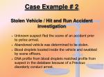 case example 2 stolen vehicle hit and run accident investigation
