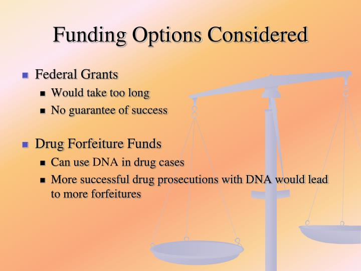 Funding Options Considered