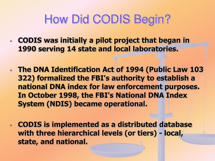 How Did CODIS Begin?