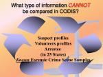 what type of information cannot be compared in codis