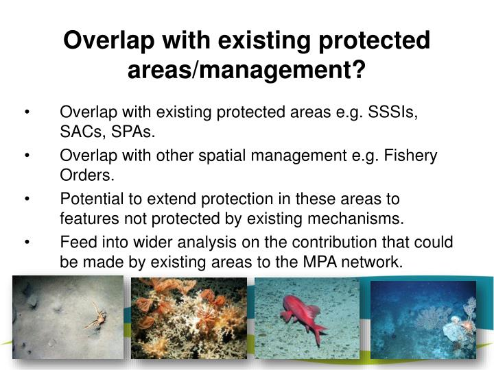 Overlap with existing protected areas/management?