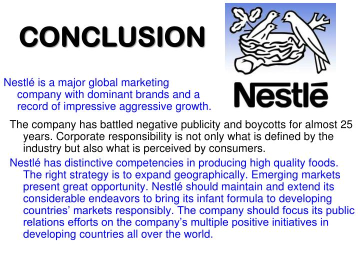 Nestlé is a major global marketing company with dominant brands and a record of impressive aggressive growth.
