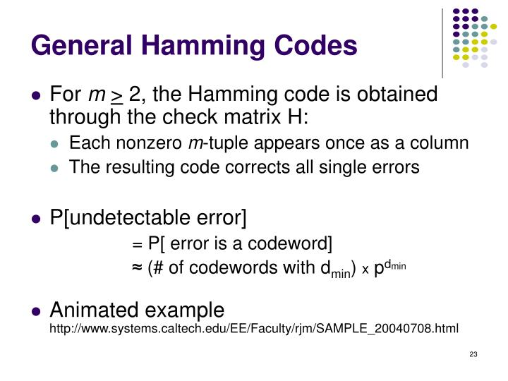General Hamming Codes
