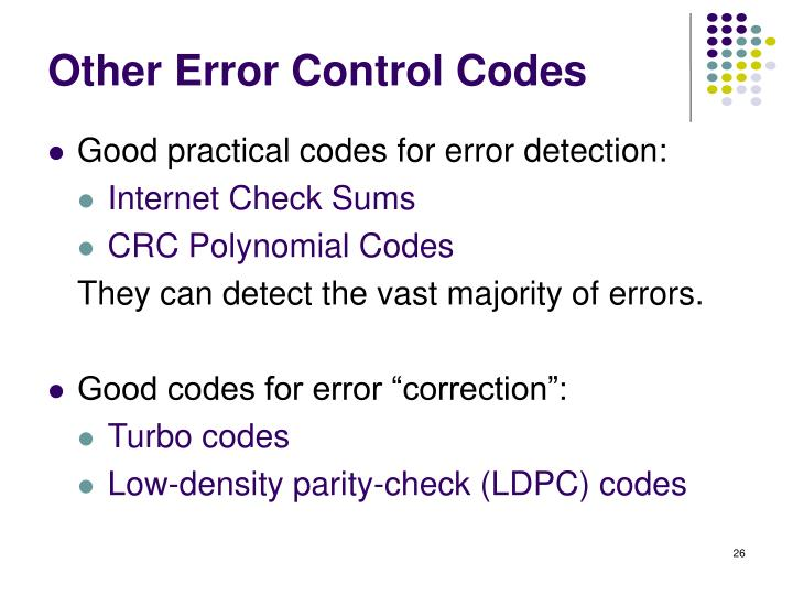 Other Error Control Codes