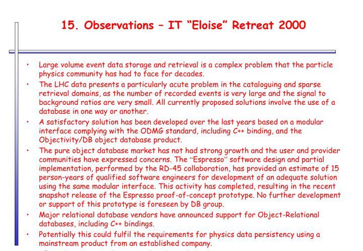 "15. Observations – IT ""Eloise"" Retreat 2000"