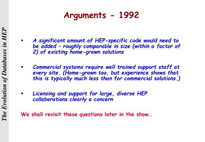 Arguments - 1992