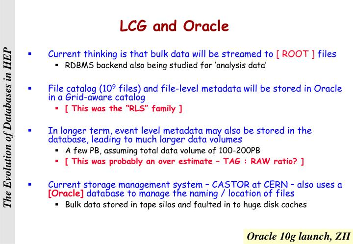 LCG and Oracle