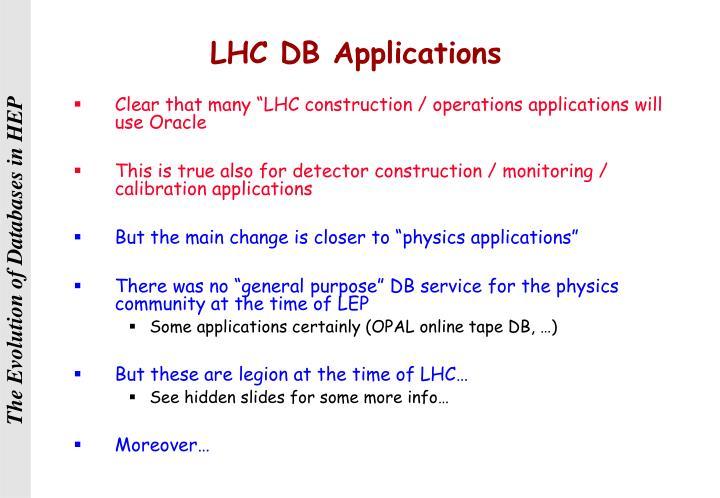 LHC DB Applications