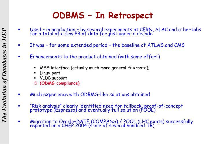 ODBMS – In Retrospect