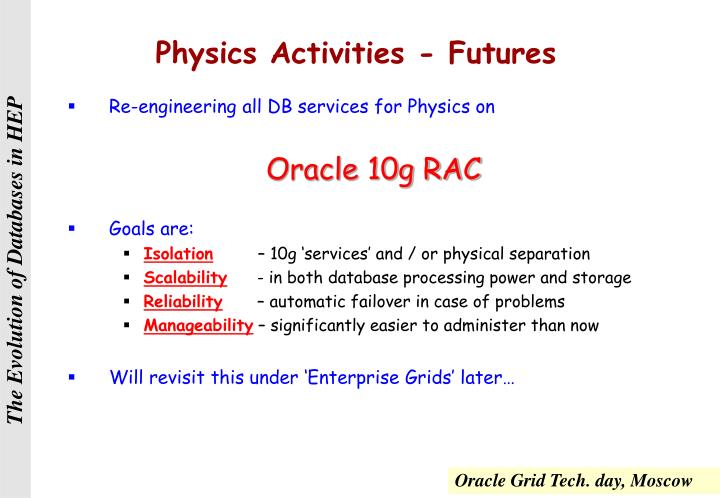 Physics Activities - Futures