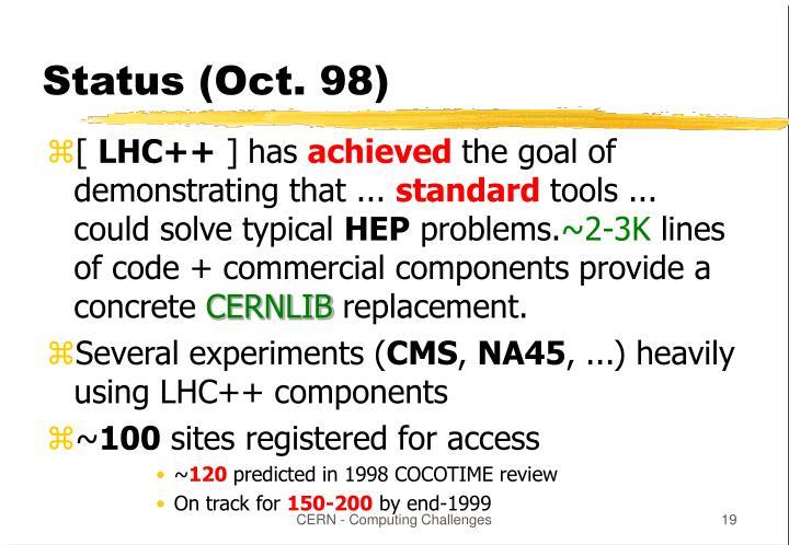 Status (Oct. 98)