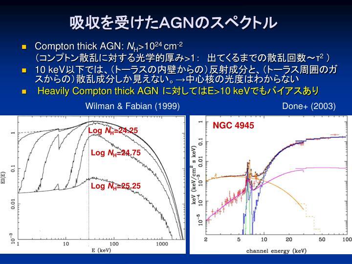 吸収を受けたAGNのスペクトル