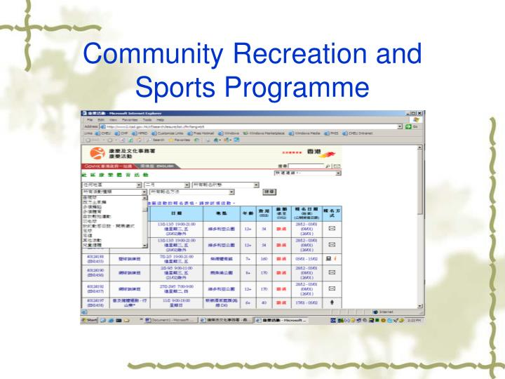 Community Recreation and