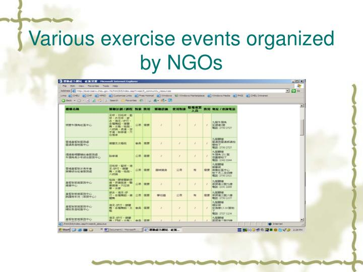 Various exercise events organized by NGOs