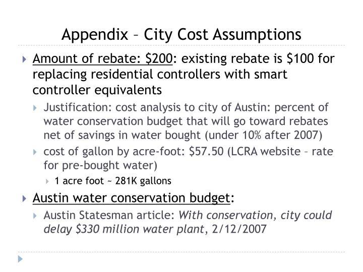 Appendix – City Cost Assumptions