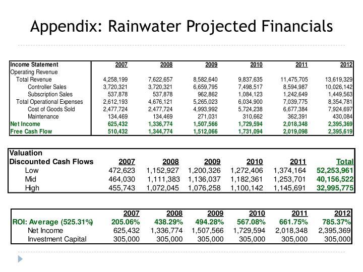 Appendix: Rainwater Projected Financials