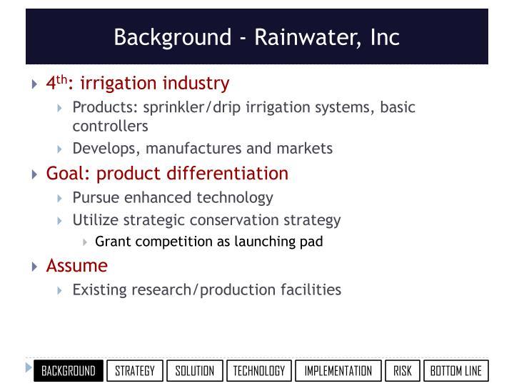 Background - Rainwater, Inc