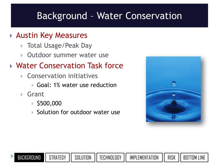 Background water conservation