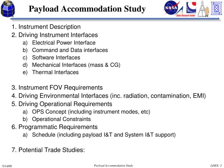 Payload accommodation study