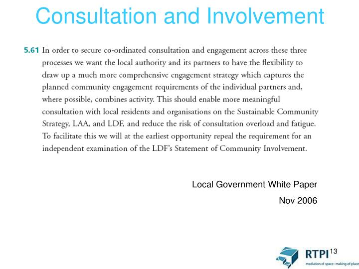 Consultation and Involvement