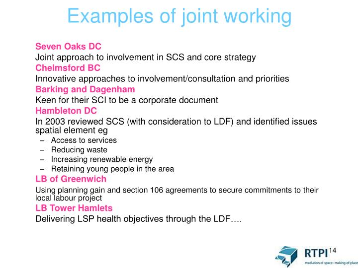 Examples of joint working