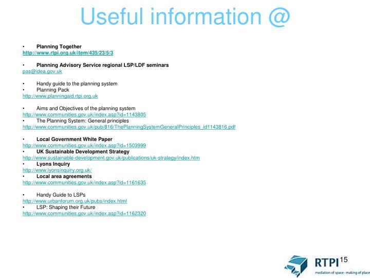Useful information @