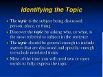 identifying the topic