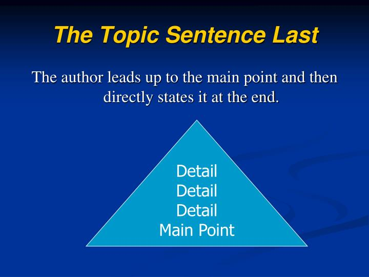 The Topic Sentence Last