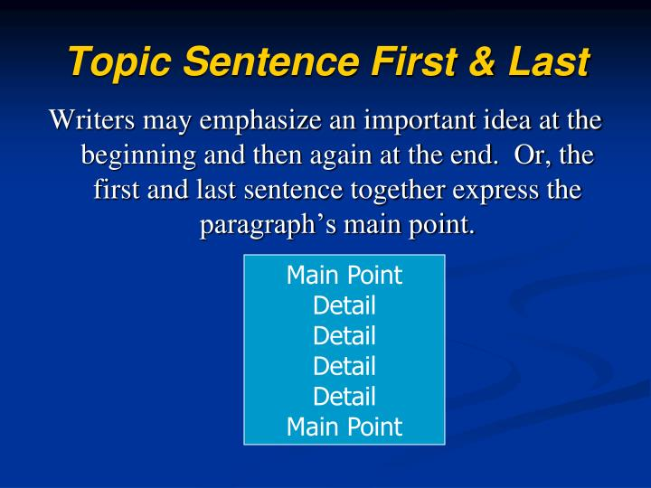 Topic Sentence First & Last