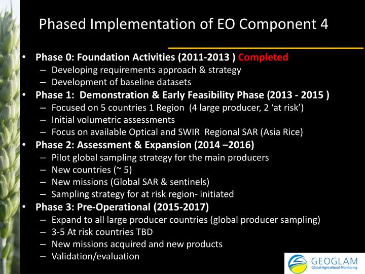 Phased Implementation of EO Component 4