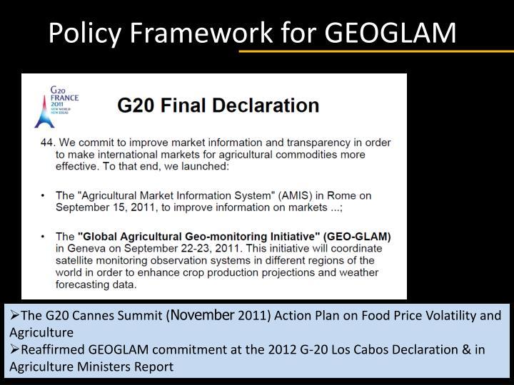 Policy Framework for GEOGLAM