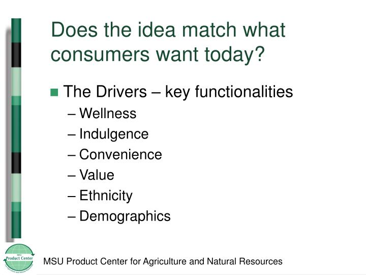 Does the idea match what consumers want today?