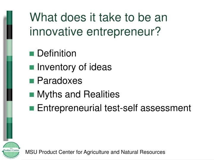 What does it take to be an innovative entrepreneur?