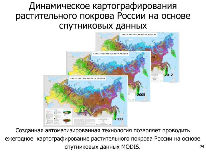 Динамическое картографирования растительного покрова России на основе спутниковых данных