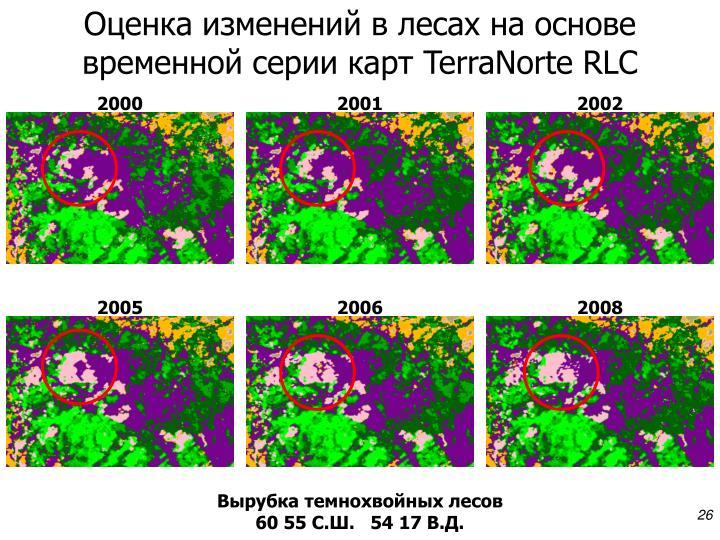 Оценка изменений в лесах на основе временной серии карт