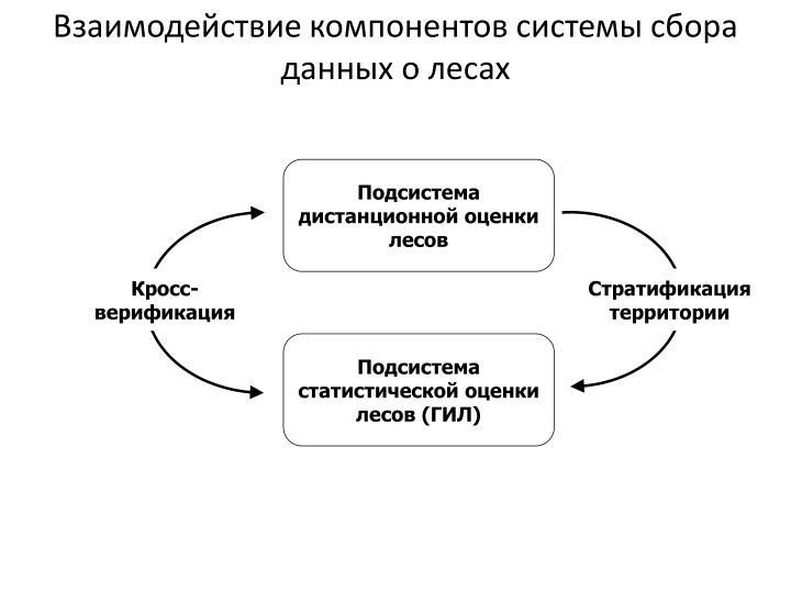 Взаимодействие компонентов системы сбора данных о лесах